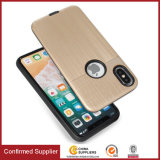 Brushed Texture PC TPU 2 in 1 Hybrid Phone Back Cover for iPhone X