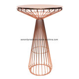 Modren Industrial Metal Frame Round Bar High Table