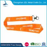 Custom Cheap Card Holder Keychain Nylon Silkscreen Printing Cotton Ribbon Lanyard with Metal Hook (012)