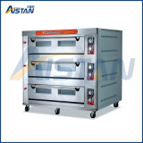 Htr-120q Factory Price with Microcomputer Digital Temperature Display 3 Layer-12 Tray Gas Oven for Bread Machine