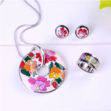Flower Enamel Jewelry 925 Silver Jewelry Set with High Polishment