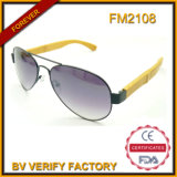 FM2108 New Design Metal Frame Bamboo Temple Sunglasses
