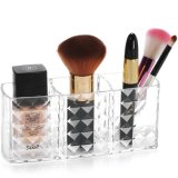 Clear Acrylic Three Cups Makeup Brush Organizer Pencil Holder Cosmetic Storage