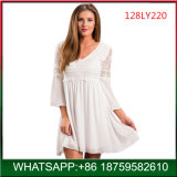 High Quality Ladies Elegant White Lace Dress Wholesale