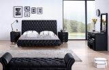 Modern Antique Bedroom Set Wooden Leather Bed