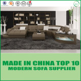 Elegant Genuine Modern Furniture Wooden Leather Corner Sofa