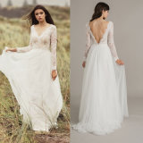 Long Sleeves Bridal Dress Lace Hi-Low Beach Country Garden Wedding Gown H14723
