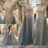 Blue Tulle Prom Dress Beading Lace Party Evening Gowns B42