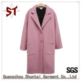 Lady Thick Coat Woolen Clothing Outer Coat with Buttons