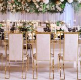 Cheap Wholesale Stainless Steel Stackable Gold Dining Chair Metal Golden Stainless Steel Banquet Chair for Wedd