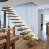 Prima Safety Tempered Glass Handrail Timber Step Floating Staircase