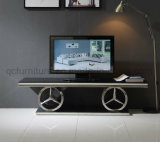 Mercedes Shape Stainless Steel Base Black Glass Top TV Stand