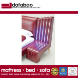 Modern Genuine Leather Bed with LED Lighting