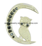 925 Silver Moon Shape with Standing Cute Bird Pendant