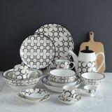Coupe Shape Bubble Pattern Durable Porcelain Dinner Set