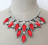 Lady Fashion Red Glass Crystal Choker Necklace Costume Jewelry (JE0192)