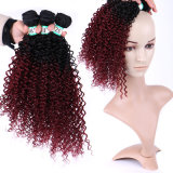 Synthetic Hair 1b/99j Burgundy Ombre Hair Bundles Curly Wave Hair Extension