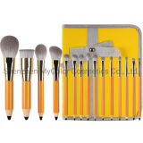 15PCS Pencil Makeup Brush Set Professional Orange Brushes Set OEM Beauty Tools