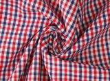 Red/Navy Checks Twill 60 Cotton 40 Polyester Fabric Shirting