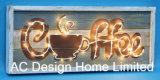 Vintage Antique Rectangular Coffee Design Wall Decor Wooden Shadow Box W/LED Light