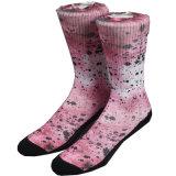 Wholesale Custom Pink Cotton Sublimation Print Sock
