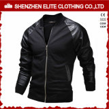 Popular Fashion Blank Black Leather Bomber Jacket Cheap (ELTWBJI-17)