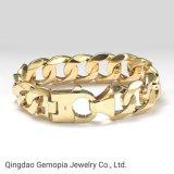 925 Silver Solid Gold/Monoca Miami Cuban High End 8.5 Inches Fashion Jewelry