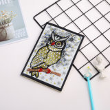 Owl Standing on a Branch DIY Diamond Notebook Cartoon Diamond Embroidery Art Special Shaped Diamond Notebook
