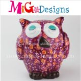 Wholesale Purple Flower Owl Bank Ceramic Saving Box