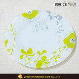 Round Flower Decal Glass Plate Dinnerware