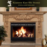 High Polished Marble Fireplace with Indoor Decorated Stone