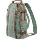 Stock Wholesale Canvas Genuine Leather Daypacks Rucksack School Backpack Bag