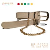 Basic Women PU Belt Lady Belt with Double Metal Loop Chain Decoration Fashion Accessories