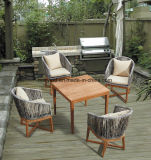 Outdoor Teak Wood and Rattan Dining Table and Chair