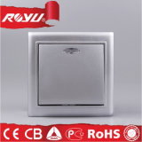 Silver Surface Type 10A 86*86 Size European LED Switch
