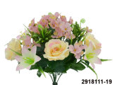 Artificial/Plastic/Silk Flower Rose/Hydrangea/Lily Mixed Bush (2918111-19)