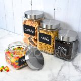 4 PCS Kitchen Airtight Food Storage Containers Square Glass Storage Jar Labels Marker Stainless Steel Lid