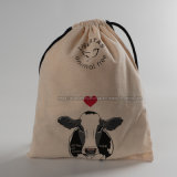 Custom Size Unbleached Organic Cotton Drawstring Bag with Logo