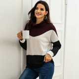European and American New Style Loose Warm Half-High Collar Contrast Stitching Base Sweater with Blouse Women′s Sweater