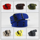 Hot-Selling Unisex Men Lady Fashion 2 Holes Cotton Polyester Fabric Belt
