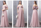 Evening Dresses Rose Lace Tulle Cheap Bridesmaid Party Prom Gowns L117