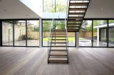 Latest Design Modern Home Use Tempered Glass Railing Wood Straight Staircase