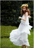 New Arrival Newest Collection Ivory Chiffon Pleats Tiered Strap Evening Dress