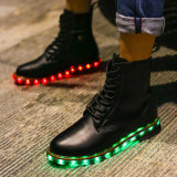New Premium LED Leather Boots, Unisex Luminous Fur Boot