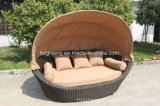 Round Rattan Daybed Beach Bed Sunbed Outdoor Furniture