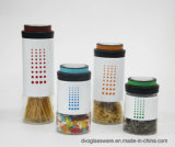 Stock Glass Storage Jar Wrapped Stainless Steel and Metal Lid