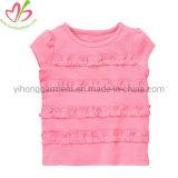 Fashion Soft Round Neck Girl Ruffles Tops Children Wear