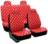 Universal Fit 6PCS Full Set Round Spot Pattern Polyester Fabric Girly Car Seat Cover