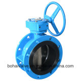 Ductile Iron Rubber Seat Double Flanged Butterfly Valve