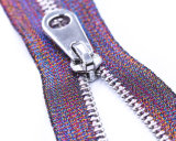 Metal Zipper with Coloured Tape and Fancy Puller.